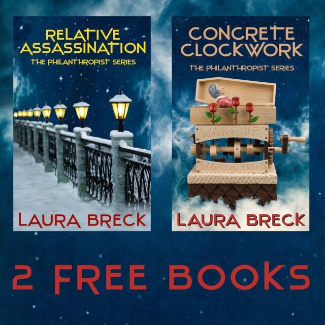 """FREE 2-Book Download! The Prequel to The Philanthropist Series, Relative Assassination, is available now. BONUS SECOND BOOK! Inside the book is a link to your FREE download of Concrete Clockwork, Book 1 of the series. If you enjoy a story where a strong, female assassin matches wits against a truly repulsive bad guy, a spine-tingling thrill ride where the unexpected startles you, and where dark humor spices the suspense, you'll love these two books. Give them a try - for free - and find out why one reviewer called it """"an explosive new series."""" https://www.amazon.com/Relative-Assassination-Philanthropist-Laura-Breck-ebook/dp/B09BBNVMNC/ https://www.smashwords.com/books/view/1096397 https://books.apple.com/us/book/x/id1578777524 https://www.barnesandnoble.com/s/2940164976835 https://www.kobo.com/us/en/ebook/relative-assassination #suspense #thriller #femaleprotagonist #assassin #veteran #army #Minnesota fiction #wetwork What Readers are Saying: """"Without a doubt, Laura Breck is a great storyteller! She brings her strong women characters to life, making them people we want to know."""" """"Concrete Clockwork is a fast-paced suspense novel, full of twists and turns. The characters are well developed. This novel was well worth my time. A great read."""" """"This book is a page turner."""" """"This is an explosive new series."""" """"I read it straight through. I just couldn't put the book down."""" """"I loved Lottie. She is a take charge and get the job done kind of woman. There is a lot of subterfuge at play in this book and a lot of twists and turns."""" """"This is quite an action-packed adventure from beginning to end. There are explosions, and people dying and threats to her family as Lottie races to find out who is targeting her and also who wants to blow up the stadium as well as other twists and turns."""" """"This is an action filled start to a new series and I can't wait to see what the next adventure will be for Lottie Nightshade."""" """"I'm a big Tom Clancy, John Grisham fan, and this book fell nicely int"""